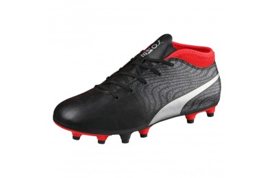 Puma ONE 18.4 FG JR Soccer CleatsBlack-Silver-Red Outlet Sale
