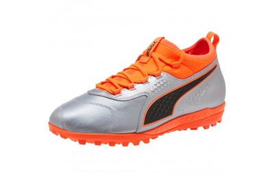 Puma PUMA ONE 3 Lth TT Men's Soccer CleatsSilver-Orange-Black Outlet Sale