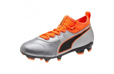 Puma PUMA ONE 3 Leather FG JRSilver-Orange-Black Outlet Sale