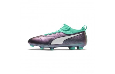 Puma ONE 3 ILLUMINATE Leather FG Soccer CleatsCol Shift-Green-White-Black Outlet Sale