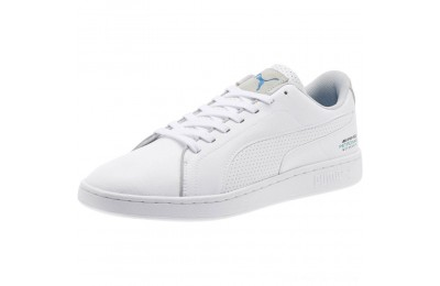 Puma Mercedes AMG Petronas Smash V2White-White-Mercedes Tm Slvr Outlet Sale