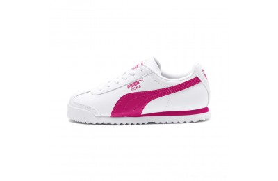 Puma Roma Basic Sneakers JRwhite-fuchsia purple Outlet Sale