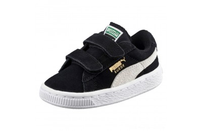 Black Friday 2020 Puma Suede 2 Straps Preschool Sneakers Black- White Outlet Sale