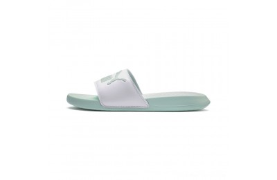 Black Friday 2020 Puma Popcat Slide Sandals White-Fair Aqua Outlet Sale
