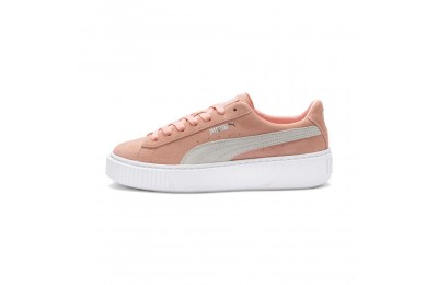 Puma Suede Platform Women's Sneakers Peach Bud- Silver Outlet Sale