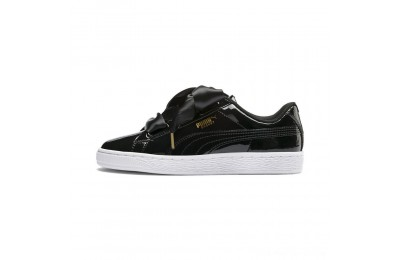 Black Friday 2020 Puma Basket Heart Patent Women's Sneakers Black- Black Outlet Sale