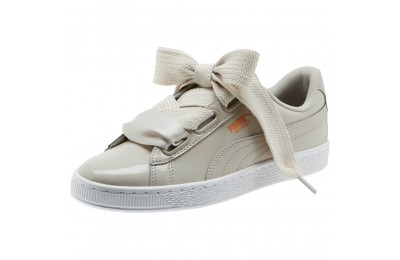 Puma Basket Heart Patent Women's Sneakers Silver Gray-Silver Gray Outlet Sale