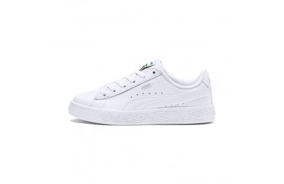 Puma Basket Classic Kids' Sneakers White- White Outlet Sale