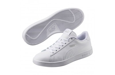 Puma Smash v2 Leather Sneakers White- White Outlet Sale