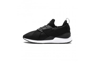 Puma En Pointe Muse Satin Women's Sneakers Black- White Outlet Sale