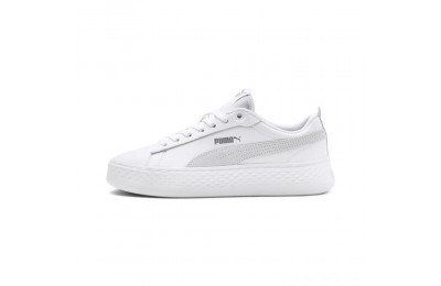 Black Friday 2020 Puma Smash Platform Leather Women's Sneakers White- White-White Outlet Sale