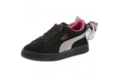 Puma Suede Bow AC Sneakers PS Black-Fuchsia Purple Outlet Sale