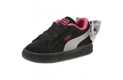 Puma Suede Bow Infant Sneakers Black-Fuchsia Purple Outlet Sale