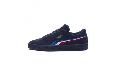 Puma Suede Classic Multicolour Embroidery JR Sneakers Peacoat-White-Red-Blue Outlet Sale