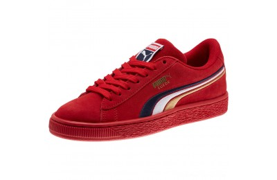 Puma Suede Classic Multicolour Embroidery JR Sneakers Red-Peacoat-White-Gold Outlet Sale
