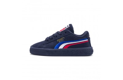 Puma Suede Classic Multicolour Embroidery Kid's Sneakers Peacoat-White-Red-Blue Outlet Sale