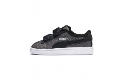 Black Friday 2020 Puma Smash v2 Glitz Glam V Infant Sneakers Black- Silver Outlet Sale