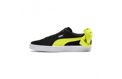 Puma Suede Bow Block Women's Sneakers Black-Sulphur Spring Outlet Sale