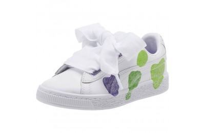Puma Basket Heart Glitter Hearts Preschool Sneakers White-Prism Violet-Green Outlet Sale