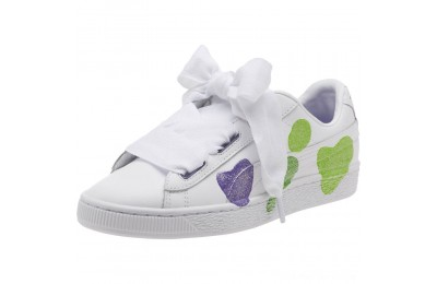 Black Friday 2020 Puma Basket Heart Glitter Hearts JR Sneakers White-Prism Violet-Green Outlet Sale
