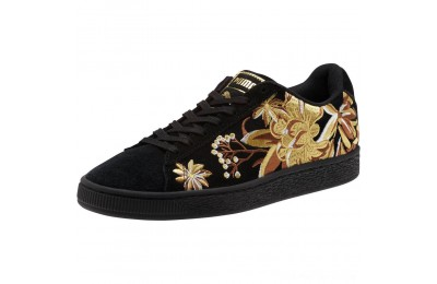 Puma Suede Hyper Embroidered Women's Sneakers Black- Team Gold Outlet Sale
