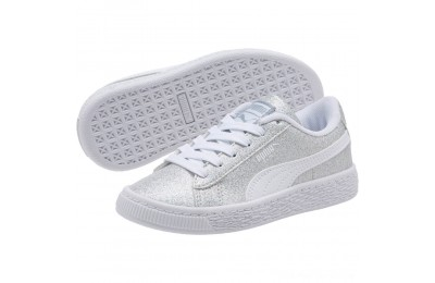 Puma Basket Holiday Multi Glitz Preschool Sneakers Silver- White Outlet Sale