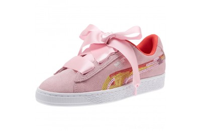 Puma Suede Heart Trailblazer Sequin Sneakers JRPale Pink-Hibiscus Outlet Sale
