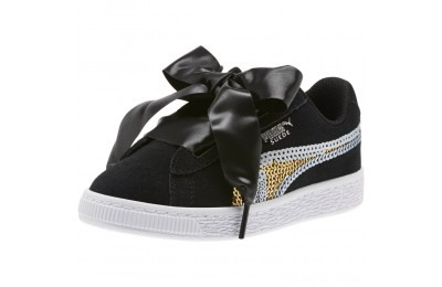 Puma Suede Heart Trailblazer Sequin Sneakers INF Black- Team Gold Outlet Sale