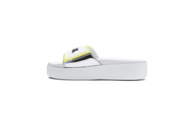 Puma Platform Trailblazer Metallic Women's Slide Sandals White- Silver Outlet Sale