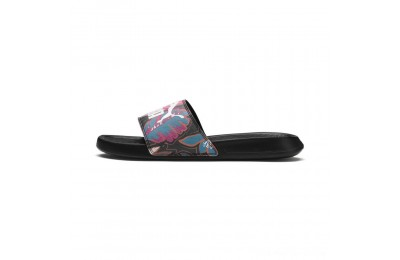 Black Friday 2020 Puma Popcat Flower Power Women's Slide Sandals Black- White Outlet Sale