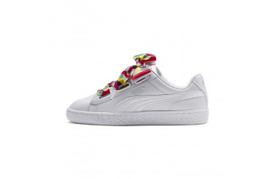 Puma Basket Heart Generation Hustle Women's Sneakers White-Fair Aqua Outlet Sale