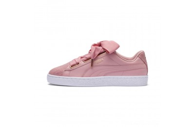 Black Friday 2020 Puma Basket Heart Woven Rose Women's Sneakers Bridal Rose- White Outlet Sale