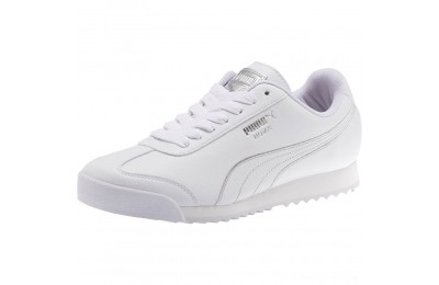 Puma Roma Metallic Stitch Women's Sneakers White- Silver Outlet Sale