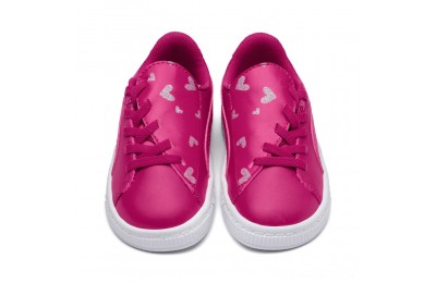Puma Basket Crush Glitter Hearts AC Sneakers INFFuchsia Purple- White Outlet Sale