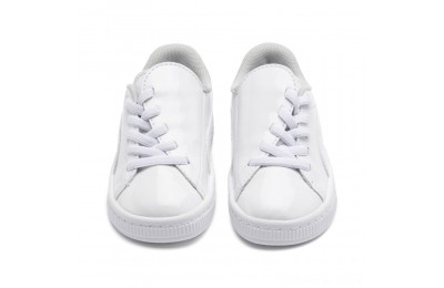 Black Friday 2020 Puma Basket Crush Patent AC Sneakers PS White- White Outlet Sale