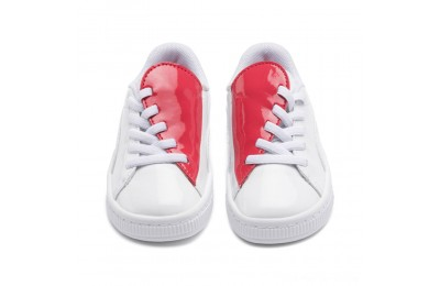 Puma Basket Crush Patent AC Sneakers INF White-Hibiscus Outlet Sale