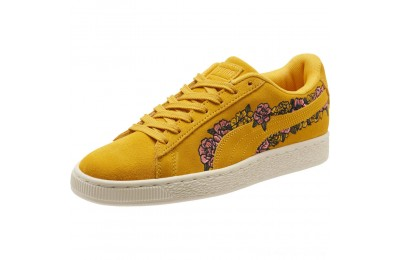 Puma Suede Embroidered Floral Women's Sneakers Whisper White Outlet Sale