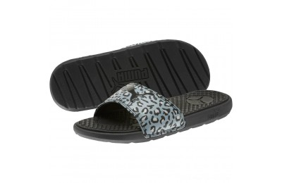 Puma Cool Cat Sport Leopard Print Women's Slides Black-Glacier Gray Outlet Sale