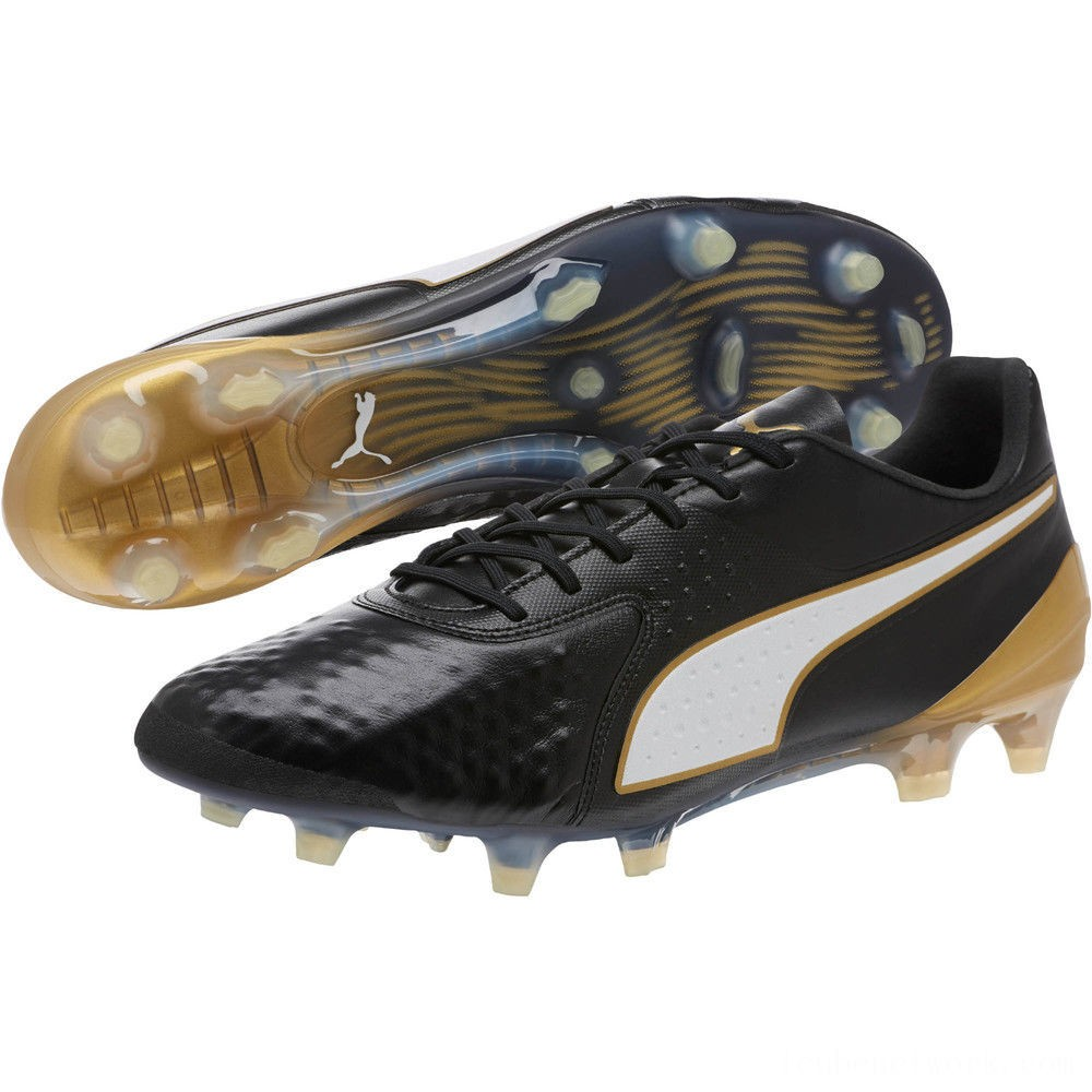 Black Friday 2020 Puma PUMA ONE 1 Leather CC FG/AG Soccer CleatsBlack-White-Gold Outlet Sale