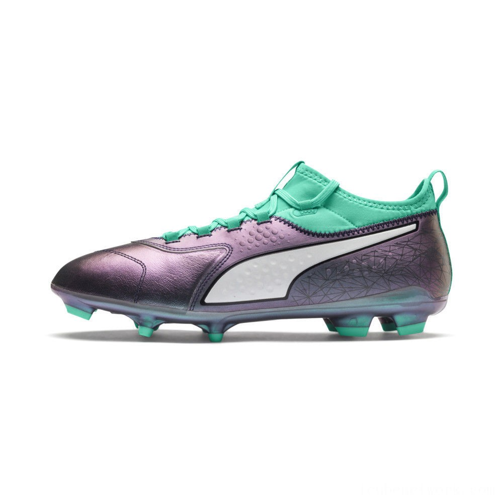 Black Friday 2020 Puma ONE 3 ILLUMINATE Leather FG Soccer CleatsCol Shift-Green-White-Black Outlet Sale
