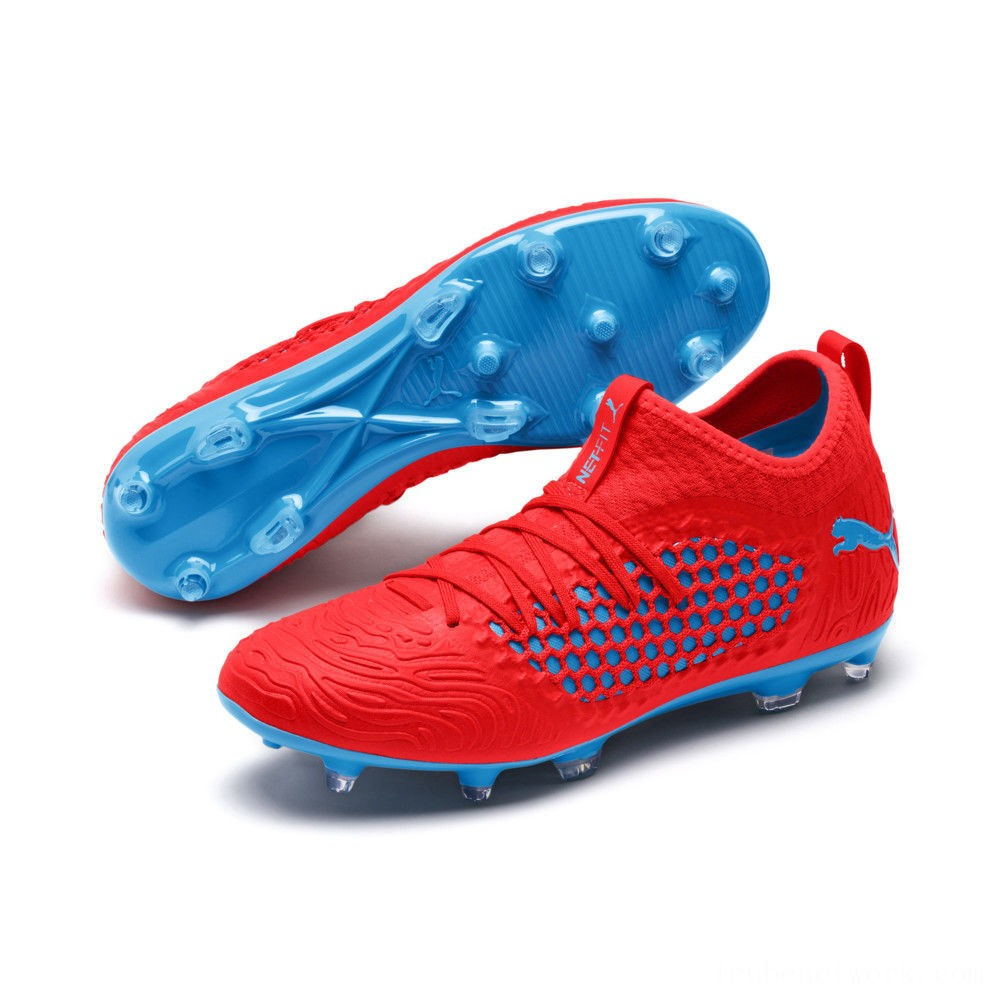 Black Friday 2020 Puma FUTURE 19.3 NETFIT FG/AG Men's Soccer CleatsRed Blast-Bleu Azur Outlet Sale