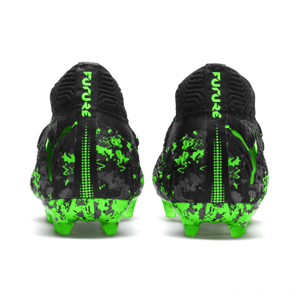 Black Friday 2020 Puma FUTURE 19.1 NETFIT FG/AG Soccer Cleats JRBlack-Gray-Green Gecko Outlet Sale