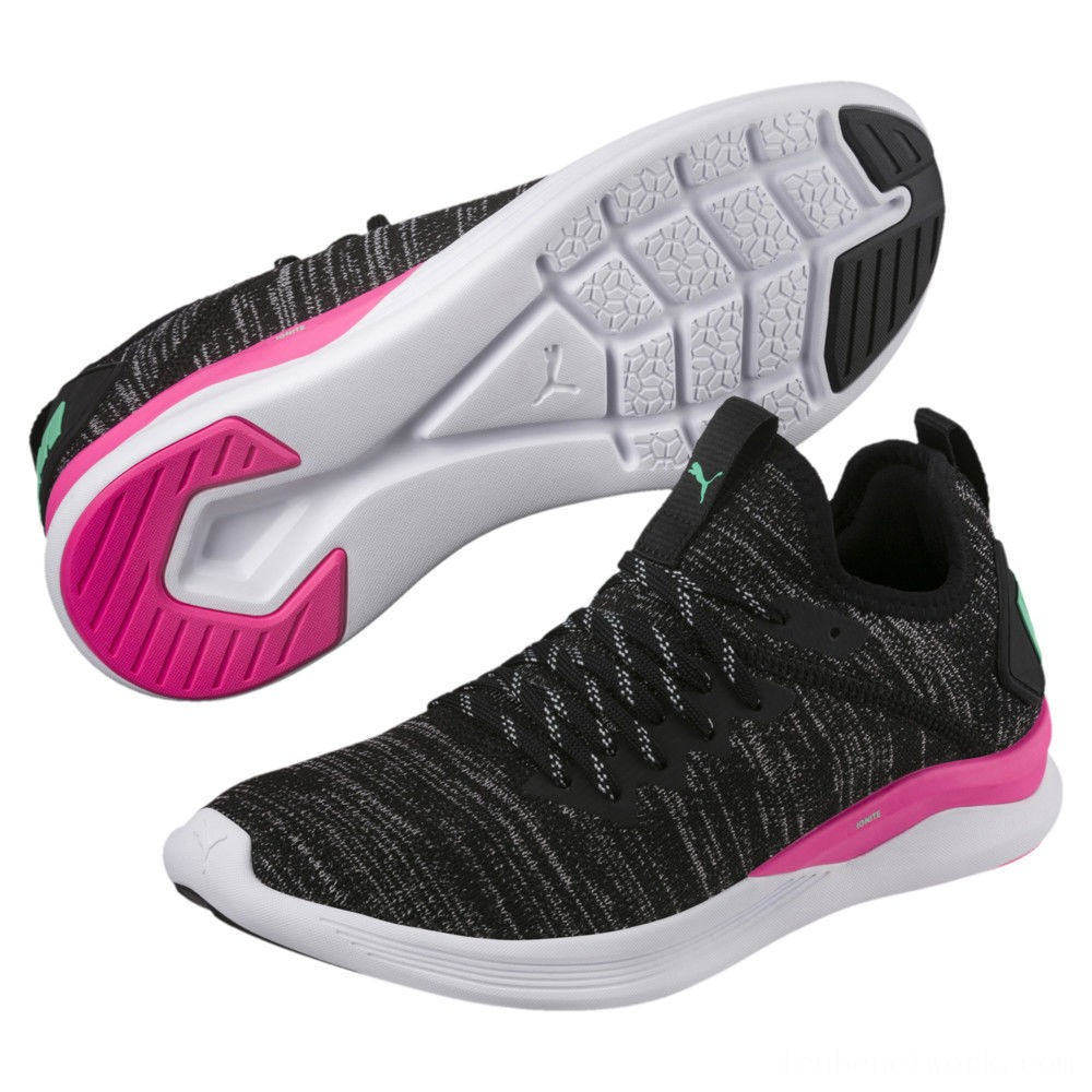 Black Friday 2020 Puma IGNITE Flash evoKNIT Women's Training Shoes Black-PINK-Biscay Green Outlet Sale