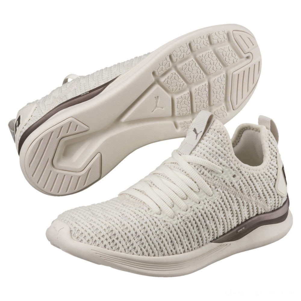 Puma IGNITE Flash Luxe Women's Running Shoes Whisper White-Metallic Ash Outlet Sale