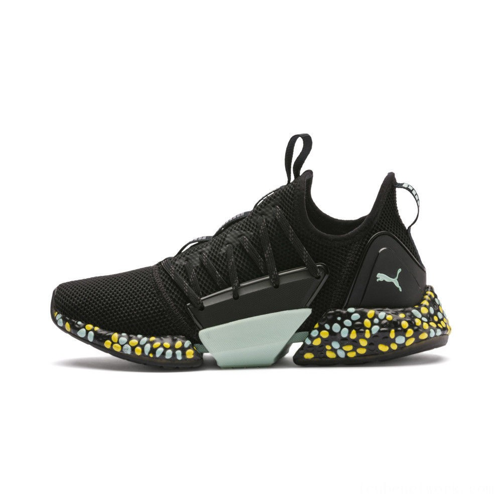 Black Friday 2020 Puma HYBRID Rocket Runner Women's Running Shoes Black-Fair Aqua-Yellow Outlet Sale