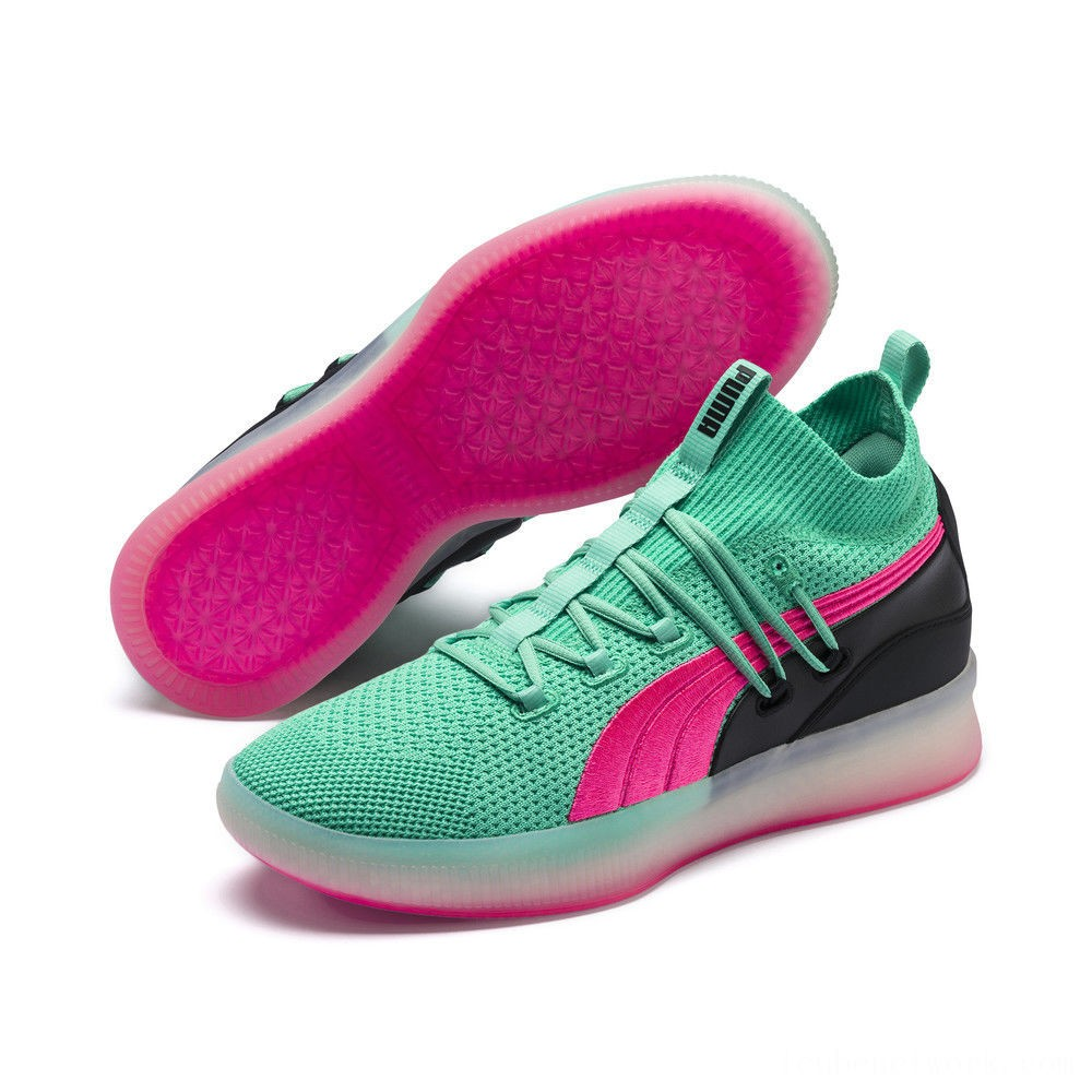 Black Friday 2020 Puma Clyde Court Basketball Shoes Biscay Green Outlet Sale