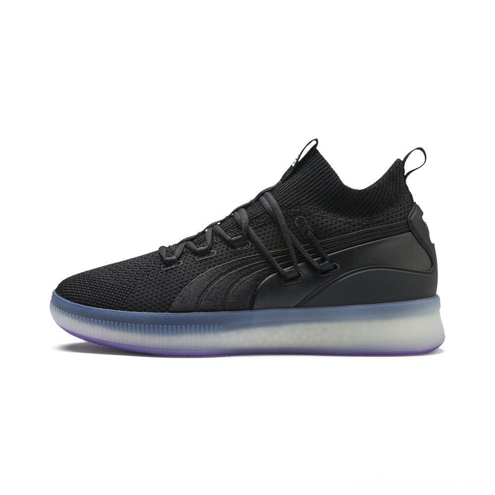 Black Friday 2020 Puma Clyde Court Basketball Shoes Black-ELECTRIC PURPLE Outlet Sale