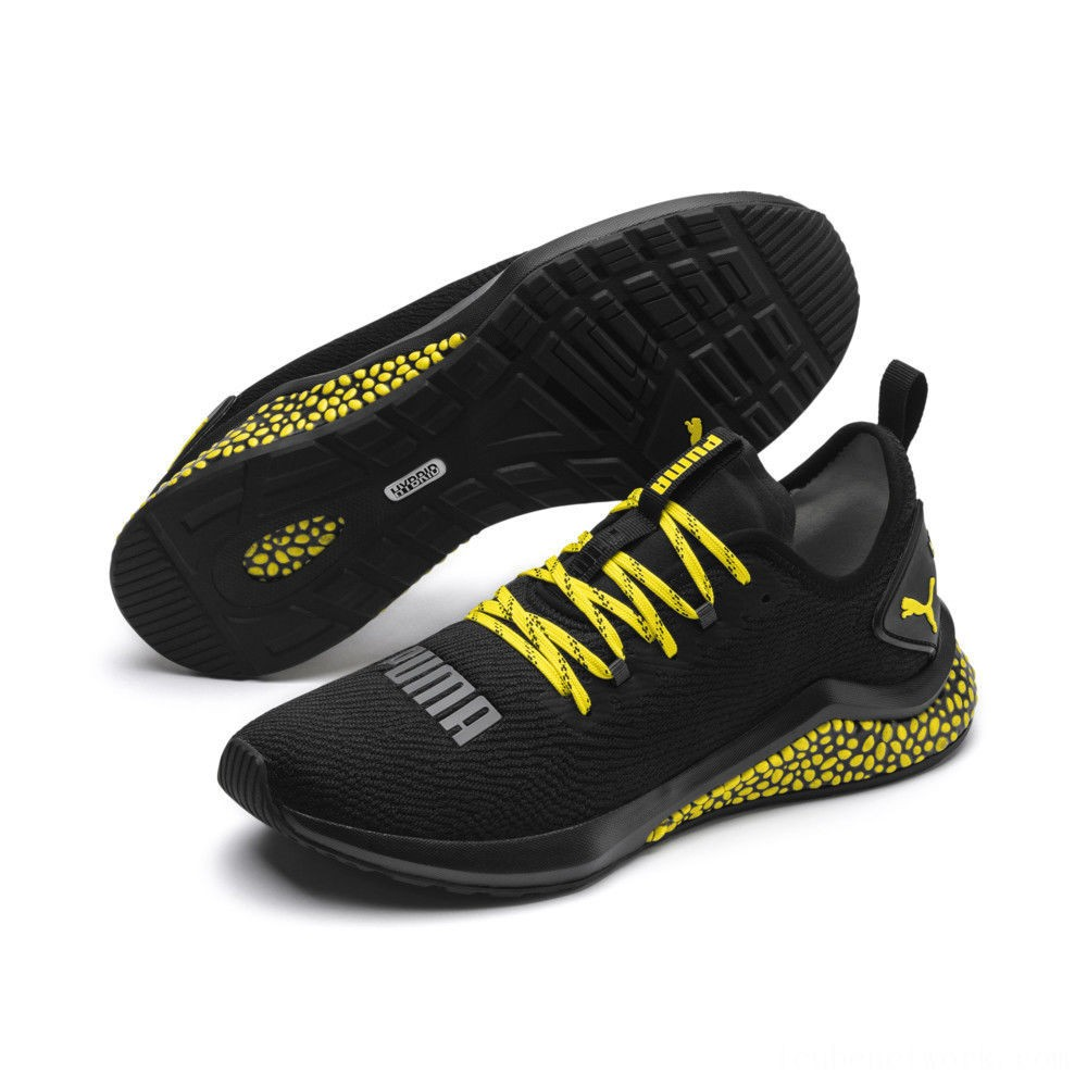 Puma HYBRID NX Caution Men's Running Shoes Black-Blazing Yellow Outlet Sale