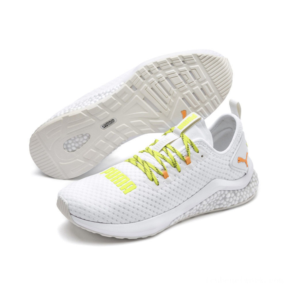 Black Friday 2020 Puma HYBRID NX Daylight Men's Running Shoes White-Orange Pop-FizzyYellow Outlet Sale