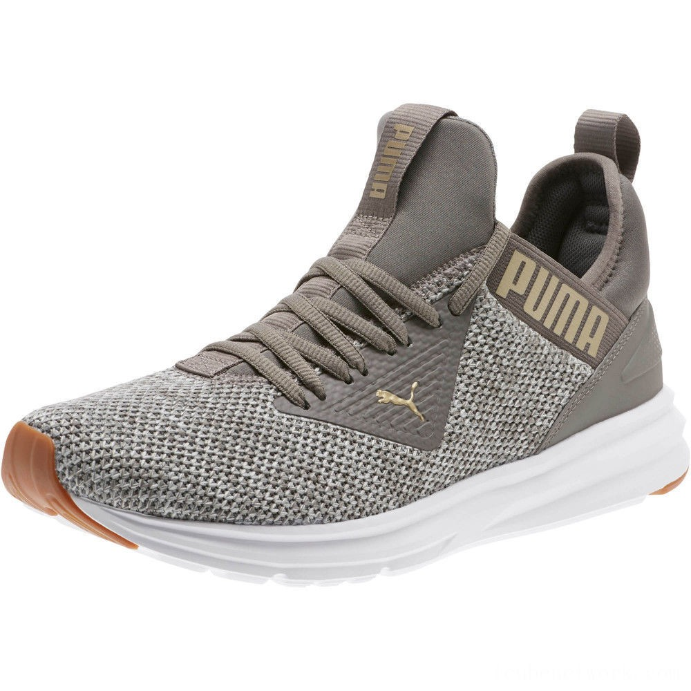 Black Friday 2020 Puma Enzo Beta Woven Men's Training Shoes Charcoal Gray-Metallic Gold Outlet Sale